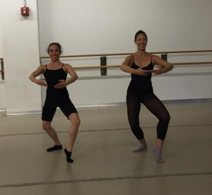 NYC Director of the New York Institute of Dance & Education Hana Ginsburg Tirosh encouraged NYC Professional Dancer Ruth Rae to find the joy of information during a McLeod Technique Open Class in NYC.  Here, the heel presses forward, the legs rotate from the top of the hip, and the face is expressive.